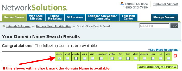 Results of the domain name search