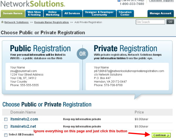 Purchase public, private domain name registration